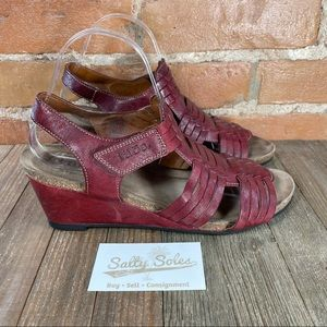 Taos Tradition Leather Wedge Sandals Womens 41